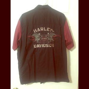 Harley Davidson Short Sleeve Button Down Shirt
